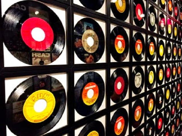 Samling med vinylskivor